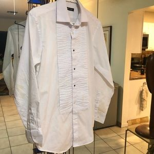 Adrienne Vittadini White button down Tuxedo Shirt